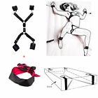 Black Under Bed Sexy Bedroom Restraint Kit with Soft Faux Hand Anklet Cuffs Set