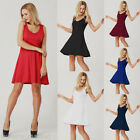 Women V-Neck Sleeveless Mini Dress Party Casual Lady Flared Solid Ball Gown GB
