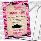 Girls Pink Army Soldier Camouflage Party Thank You Cards
