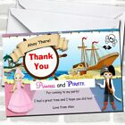 Princess And Pirate Ship Birthday Party Thank You Cards