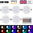 5W/10W RGB LED Panel Light 16Color Changing Recessed Remote Control for Lighting