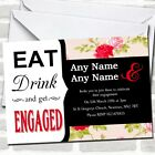 Modern Eat Drink Coral Flowers Engagement Party Invitations