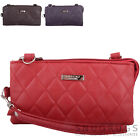 Ladies / Womens Faux Leather Diamond Effect Shoulder / Cross Body Bag / Clutch