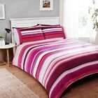 Rapport Stratos Mulberry White Striped 100% Brushed Cotton Duvet Cover Bedding