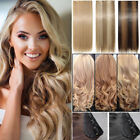 HOT Full Head One Piece Clip In As Human Hair Extensions Long Straight Curly FO3