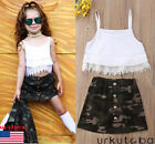 US Kids Baby Girls 2Pcs Outfits Straps Lace Tops +Camouflage Skirt Dress Clothes