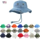 Mens Boonie Bucket Wild Brim Hat Fishing Military 100% Cotton Safari Camping Cap