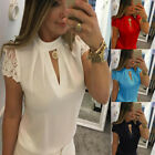 Women Casual Chiffon Short Sleeve Splice Tops Blouse V-Neck Office OL T Shirt