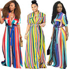Fashion Casual Women's Striped Print Short Sleeve Splice Loose Long Dress