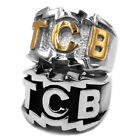TCB Elvis Presley Biker Ring Jewelry Carved Letter Stainless Steel Ring for Mens