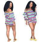 Women 2 Piece Set Sexy Striped Slash Neck Petal Sleeve Tops Loose Short Pant Set