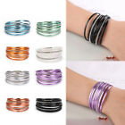 New Women Charm Wrap Multilayer Magnet  Bangle Bracelet  Cuff Leather Fashion