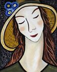 PLEASED WOMAN PORTRAIT WITH BLUE FLOWERED HAT ACRYLIC PAINTING PRINT ON PAPER