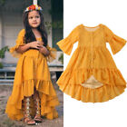 US Kid Baby Girl Boho Beach Dress Half Sleeve Party Princess Ruffle Summer Dress
