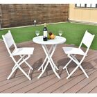 3pcs Garden Folding Round Table  & Chairs Set Outdoor Backyard Furniture Set Us