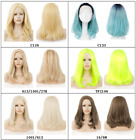 """Top Quality! 17""""long straight blond yellow middle parted heat resistant hair wig"""