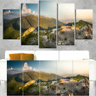 Rocky Green Mountains Panorama - Landscape Wall Art Canvas Blue