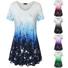 Summer Womens Casual Tunic Tops V-Neck Short Sleeve T Shirts Slim Tie Dye Dressy