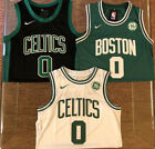 Mens #0 Jayson Tatum Boston Celtics Stitched Swingman Jersey Black Green White
