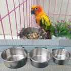 Stainless Steel Bird Feeder Bowl Food Water Container Plate Pet Parrot Supply