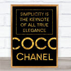 Black & Gold Coco Chanel Simplicity Quote Wall Art Print