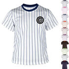 New Mens Chicago Cubs Striped Baseball Jersey T-Shirts Tee Uniform Dry Cool 0098