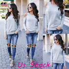 Women Long Sleeve Cold Shoulder Sweater Sweatshirt Jumper Casual Pullover Blouse