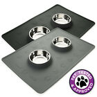 "24"" x 16"" Silicone Cat Pet Dog Food Mat with Small Stainless Steel Bowls"