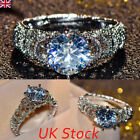 Uk New Crystal Womens White Engagement Gift Ring 925 Silver Wedding Ring Jewelry