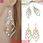 925 Sterling Silver Hook Drop Dangle Women Ol Crystal Ear Stud Spiral Earrings