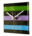 River City Clocks Square Glass Stripe Wall Clock