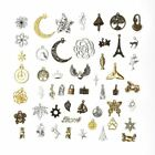 50g/lot Vintage Silver Bronze Charms Pendants DIY Crafts Jewelry Making Setting image