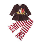 US Boutique Kids Baby Girl Thanksgiving Dress Tops Stripe Pants Outfits Clothes