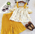 US Stock Kids Baby Girls Strap Floral Tops Loose Pants Outfits Set Clothes 1-6T
