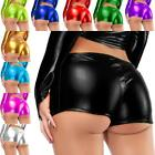 Women's Shiny Leather Micro Boy Shorts Panty Underwear Briefs Pants Dance