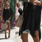 Women's Ladies Casual Jumper Long Sleeve Loose Knitted Sweater Shirt Blouse Tops