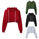 Внешний вид - Women Girls Fashion Crop Top Hooded Full Hoodie Sweatshirts Sports Wear 5 Colors