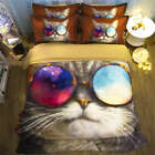 Cool Cat Nice Sunglasses 3D Digital Print Bedding Duvet Quilt Cover Pillowcase