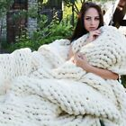 120*150cm Chunky Knitted Blanket Thick Yarn Hand Merino Wool Bulky Knitt Throw image