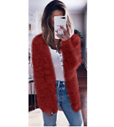 UK Womens Long Sleeve Winter Top Fur Cardigan Sweater Jumper Knitted Coat Jacket