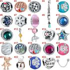 European Silver Charms Enamel Beads Xmas CZ Pendants Fit 925 Sterling Bracelets image