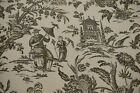 "100% Linen Asian Toile Waverly Print 55"" Upholstery Drapery Fabric Williamsburg"
