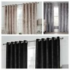 Luxury Crushed Velvet Lined Eyelet Curtains Champagne/ Silver/black