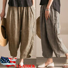 US Women Retro Elastic Waist Pants Linen Plaid Wide Leg Casual Long Pants S-3XL
