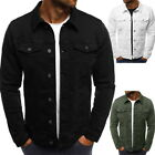 Men Casual Denim Jacket Turn-down Collar Single Breasted Solid Coat Outwear Tops