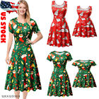 US Xmas Family Matching Women Girl Mother Daughter Christmas Printed Dress Set