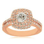 14k Rose Gold 2ct Halo Engagement Ring with 1ct Cushion-cut Clarity Enhanced