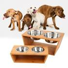 Dog Cat Pet Elevated Feeder Double Bowl Raised Stand with Two Stainless US SALE