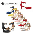 DREAM PAIRS Women's Ankle Strap Low Heels Wedding Party Shoes Pointed Toe Shoes