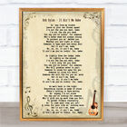 Bob Dylan It Ain't Me Babe Song Lyric Quote Print
